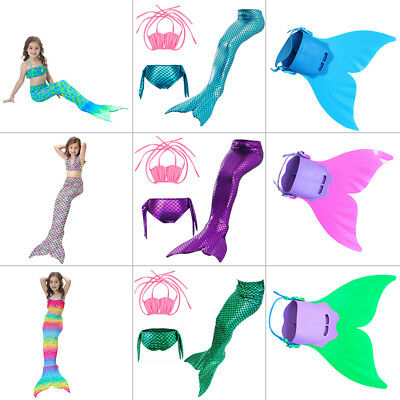 Mermaid Tail Swimmable Mono Fin Tops Panties Swimming Girls Cosplay Costume Lot