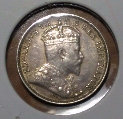 1903 H Canada Silver 5 Cent Coin - Edward Vii - Excellent Condition - Toned