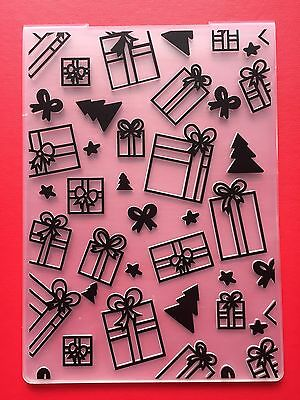 NEW• CHRISTMAS PATTERN Gifts & Trees EMBOSSING FOLDER For Cuttlebug Or Sizzix