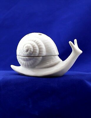 Vintage Porcelain Trinket Box White SNAIL With Lid