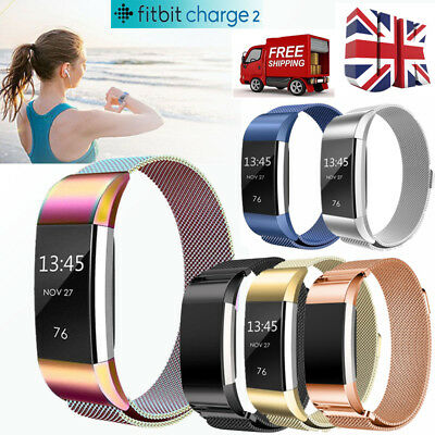 Milanese Stainless Steel Magnetic Watch Band Loop Fitbit Charge 2 Strap