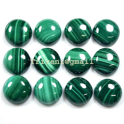 Natural Malachite 25 Pc / 15 Mm Top Quality Round Shape Cabochon Gemstones Lot