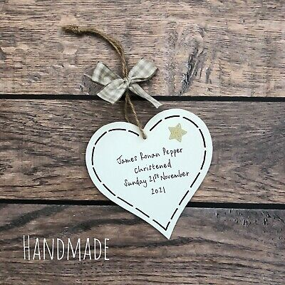 Christening Gift New Baby Personalised Plaque Boy/girl Heart Present Keepsake