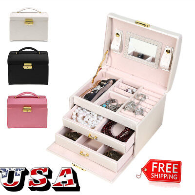 Jewelry Box Storage Organizer Case Ring Earring Necklace Case w/Mirror Xmas Gift