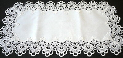 Handmade Thick Lace Table Runner Vintage Wedding Decoration White 42cm x 85cm