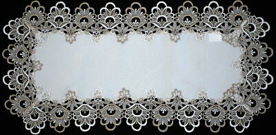 Handmade Thick Lace Table Runner Vintage Decoration Brown Color 42cm x 85cm