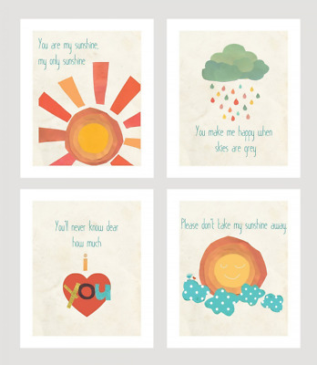 You Are My Sunshine Print Collection Set of Four 5x7 Wall Art Prints, Nursery Ar