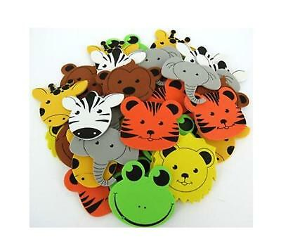 21 Foam Jungle Animal Heads Stickers - Various - 50mm-60mm
