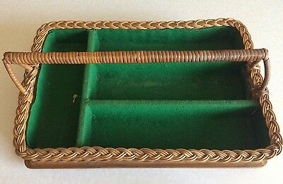 1950s/1960s Antique Wicker Cutlery Tray with Green Felt Bias Lining