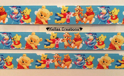"Winnie The Pooh Ribbon & Friends 7/8"" Sold by 2 M - Craft- Dummy Clips etc"