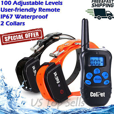 Electric Dog Training Collar Shock Pet Waterproof Rechargeable Remote Control