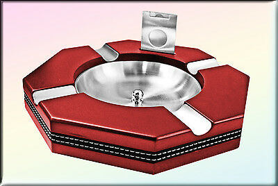 Large Cherry Hexagon Cigar Ashtray with Cutter