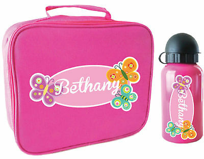 Personalised Pink Kids Lunch Bag and Drink Bottle pack for school