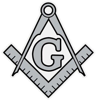 Masonic Silver Square and Compass Small Reflective Decal Sticker