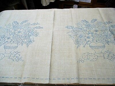 VINTAGE LARGE TRANSFER PRINTED LINEN for cushions, chair backs or other projects