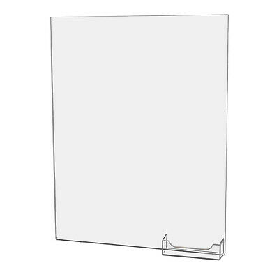 "Sign Holder with Business Card Pocket 11""W x 14""H Clear Acrylic Wall Mount"
