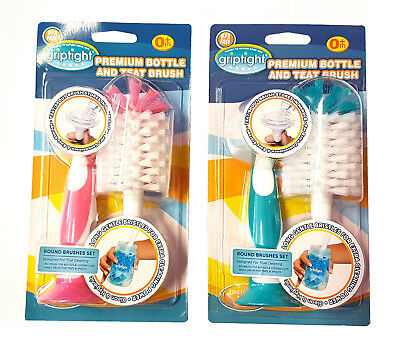 Griptight - Premium Extra Wide Bottle Cleaning Brush And Teat Cleaning Brush Wit