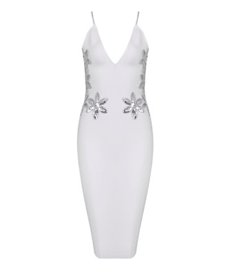 """""""Rose"""" White Cocktail with Sequin Bandage Dress-XS"""