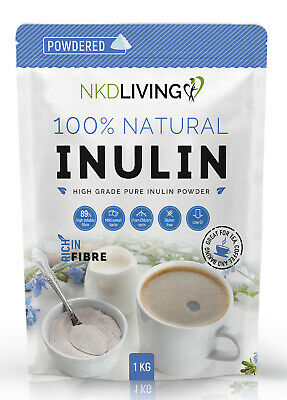 Inulin powder by NKD Living, Manufactured in the EU from Chicory, 1kg or 2kg