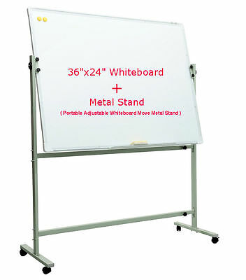 "36""x24"" Single Side Magnetic Whiteboard+Portable Adjustable Move Metal Stand"