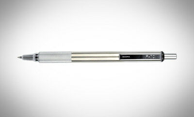 Zebra F-701 Stainless Steel Ballpoint Retractable Pen, Black Ink, Fine Point, 1