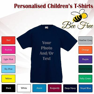 Kids Boys Girls Childrens Personalised Custom Print Cotton Short Sleeve T-Shirt