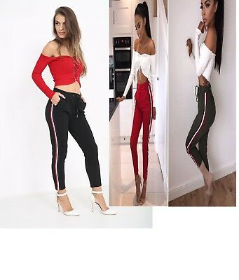 Fashion Womens Casual Slim Fitness Stripe Lace Up Stretchy Long Pants Trousers