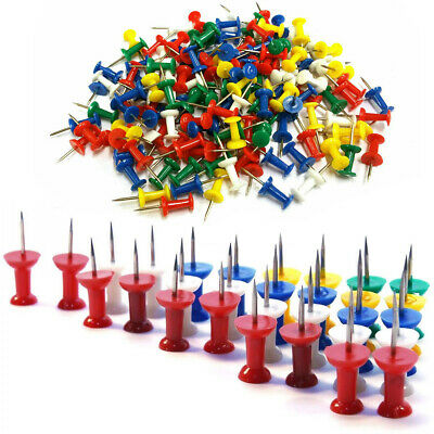 100 Push Pin Assorted Multi Coloured Drawing Pins Notice Office Cork Board W5