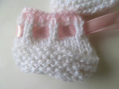 """Betsy Wetsy and Other 14-15"""" Baby Dolls White and Pink Booties Hand-Knitted NEW!"""