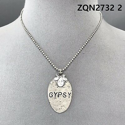 Antique Silver Finished Clear Stones GYPSY Engraved Spoon Shape Pendant Necklace