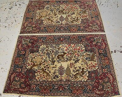 A pair of Hand made antique Persian wool pictorial Tabriz rugs each 202cmx141cm
