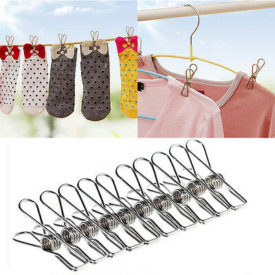 20 Pcs Stainless Steel Clothes Pegs Hanging Clips Pins Laundry Windproof Clamps