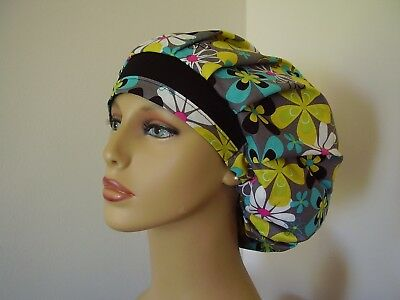 Bouffant Surgical Scrub Hat-Multi color Floral on Gray - One size