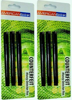 LOT 6 Counterfeit Money Detector Pen Marker Fake Dollar Bill Currency Check