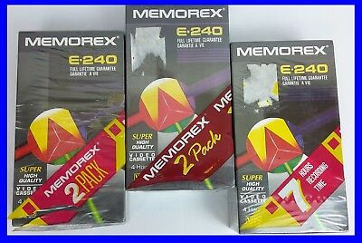 ~~6X Memorex E240 Vhs Video Tapes Brand New & Sealed Free P&p!!~~