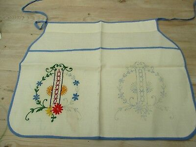 Vintage Transfer Print Work Apron ready to complete Embroidery ideal beginner