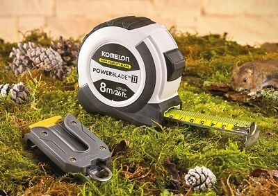 KOMELON 8m/26ft Soft Grip PowerBlade II HI VIZ Magnetic End Tape Measure - WHITE
