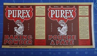 Unused Vintage Purex and Capitol Baking Powder Labels. Mint. 1 of Each.