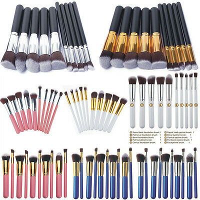10Pcs Pro Make up Eyeshadow Blush Blending Set Cosmetic Concealer Lip Brushes SY