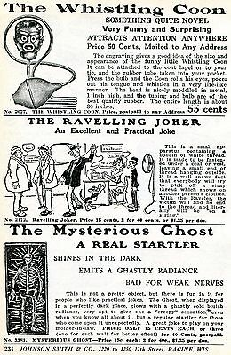 1926 Print Ad of Whistling Coon Black Americana Ravelling Joker Mysterious Ghost