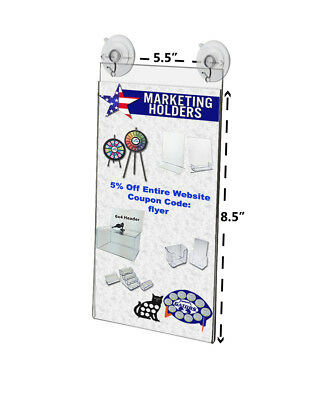 "5.5""W x 8.5""H Window Mount Sign Holder w/ 2 Suction Cups w/ Hooks (Lot of 2)"