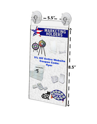 "5.5""W x 8.5""H Window Mount Sign Holder w/ 2 Suction Cups w/ Hooks (Lot of 4)"