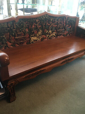 Antique Teak Three Seater Bench, Thai Furniture, Southeast Asia, Wood