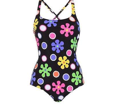 Moschino Swim womens one-piece swimsuit black with daisies multicolour (9MSD)
