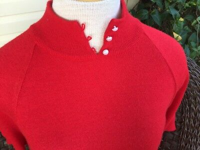Vintage 50s Herrington Park Red Pin Up Sweater Top White Buttons SZ M