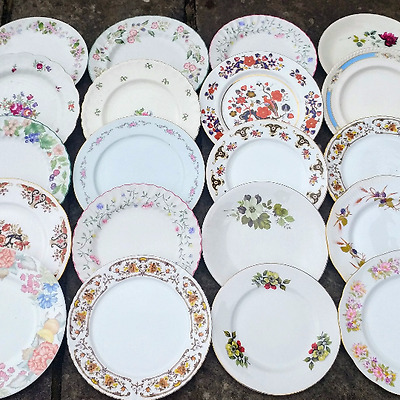 Job Lot Of 10 Vintage Mismatched China Mix Dinner Plates Party Wedding Floral