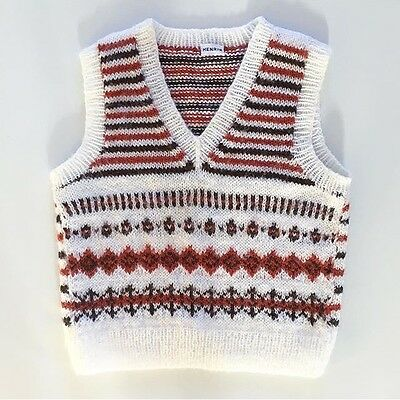 Scandinavian 70s Hand Knit Knitted Sweater Vest 12 18 Months 2T FREE SHIPPING