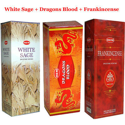 Hem Incense Sticks - WHITE SAGE + DRAGONS BLOOD + FRANKINCENSE (3 Boxes Total)