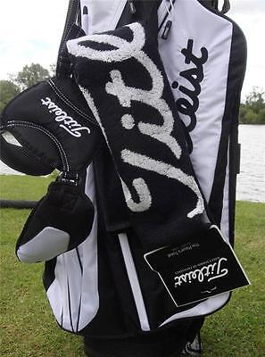 Titleist- Players Towel (40 x 80cms) - Black/White/Red + FREE Titleist Tour Tees