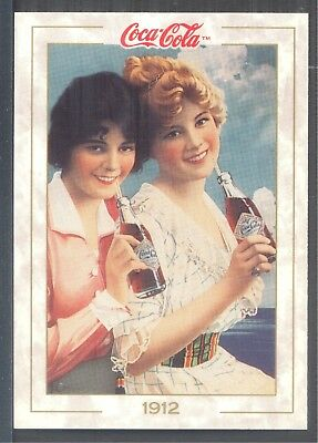 Year 1912: Coca-Cola girls on a paper sign, 1993 Coca-Cola Series 1 Card #18